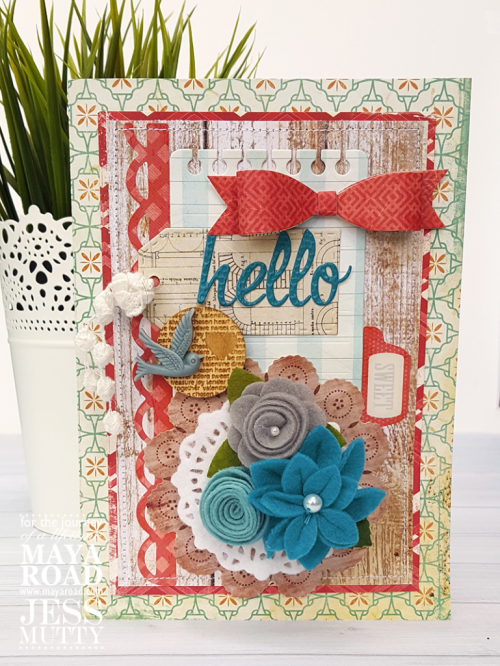 Hello card with removble hair clip by Jess Mutty for Maya Road